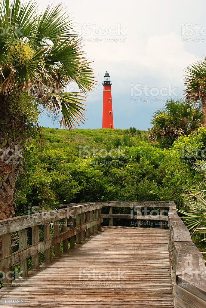 Lighthouse and Boardwalk stock photo