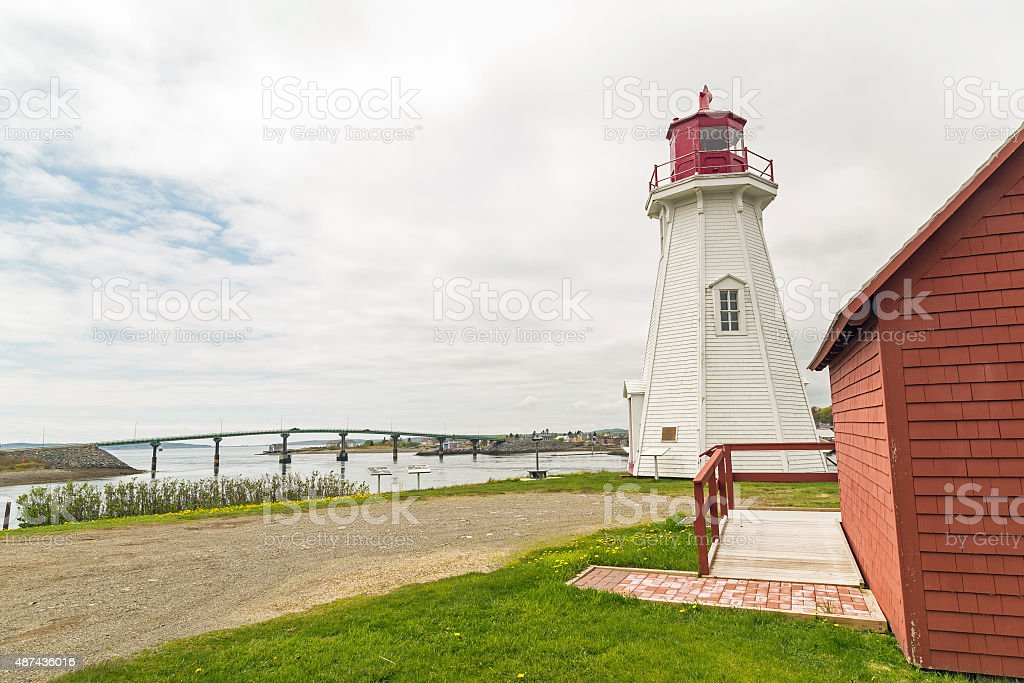Lighthouse and Bridge at US Border with Canada stock photo