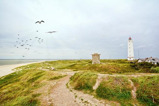 Lighthouse and bunker in the sand dunes on the beach of Blavand, Jutland Denmark Europe