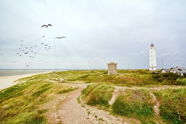 Farol e bunker nas dunas de areia na praia de Blavand, Jutland Dinamarca Europa - foto de acervo