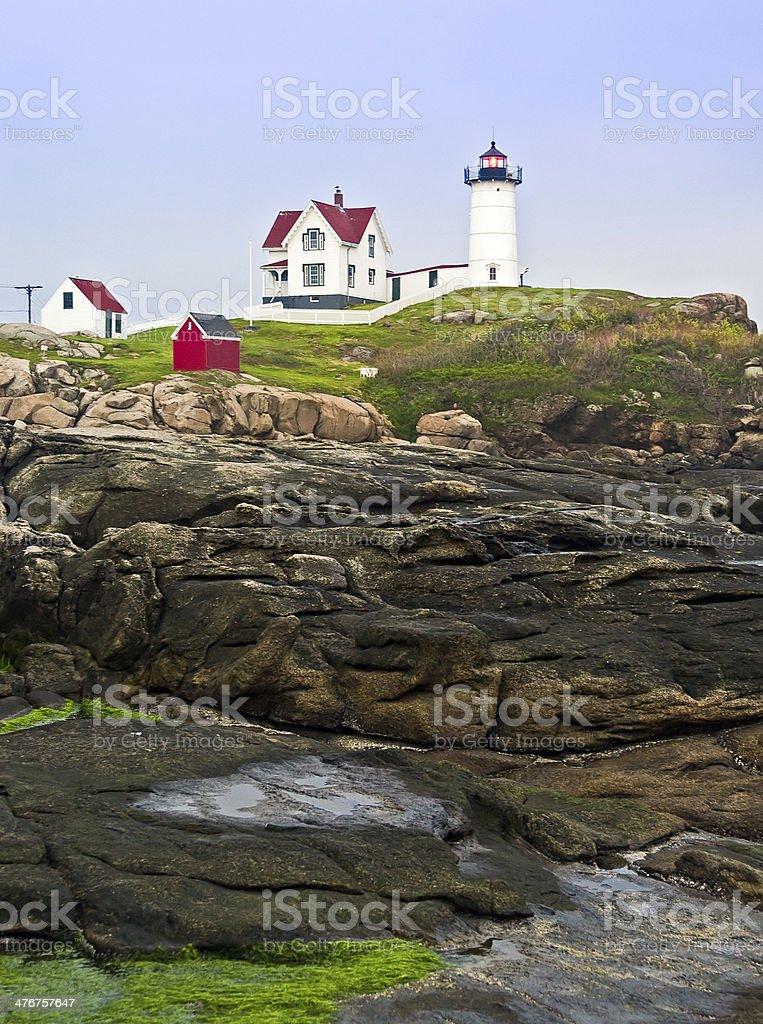 Lighthouse and Cape Neddick Coastline royalty-free stock photo