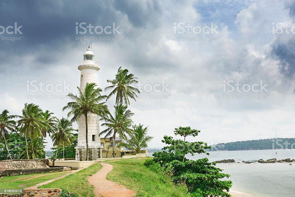 Lighthouse and palm trees stock photo