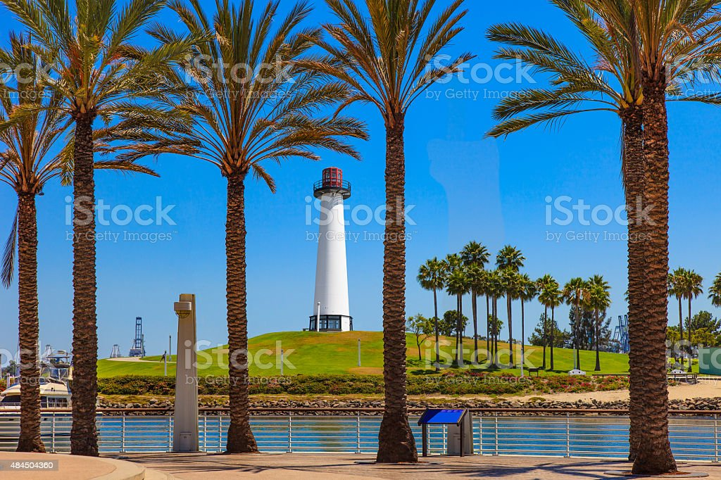 Lighthouse and palms trees at Shoreline Park Long Beach, CA stock photo