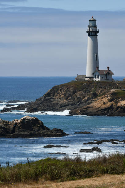 lighthouse and rocky coastline vertical - steven harrie stock photos and pictures