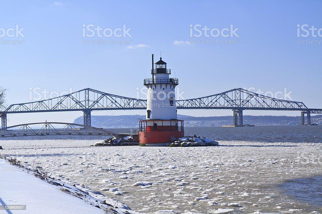 Lighthouse and Tappan Zee Bridge stock photo
