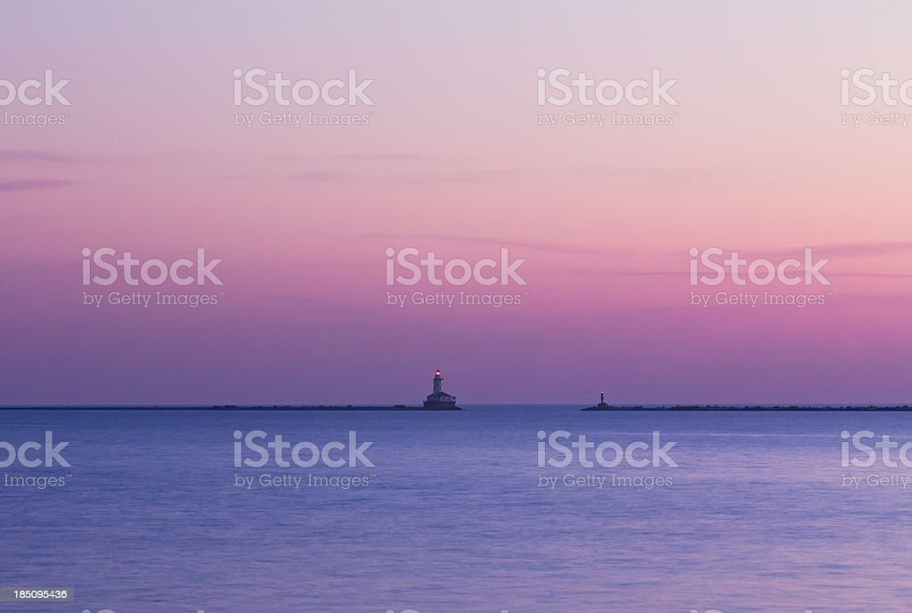 Lighthouse and Waterfront at Dawn stock photo