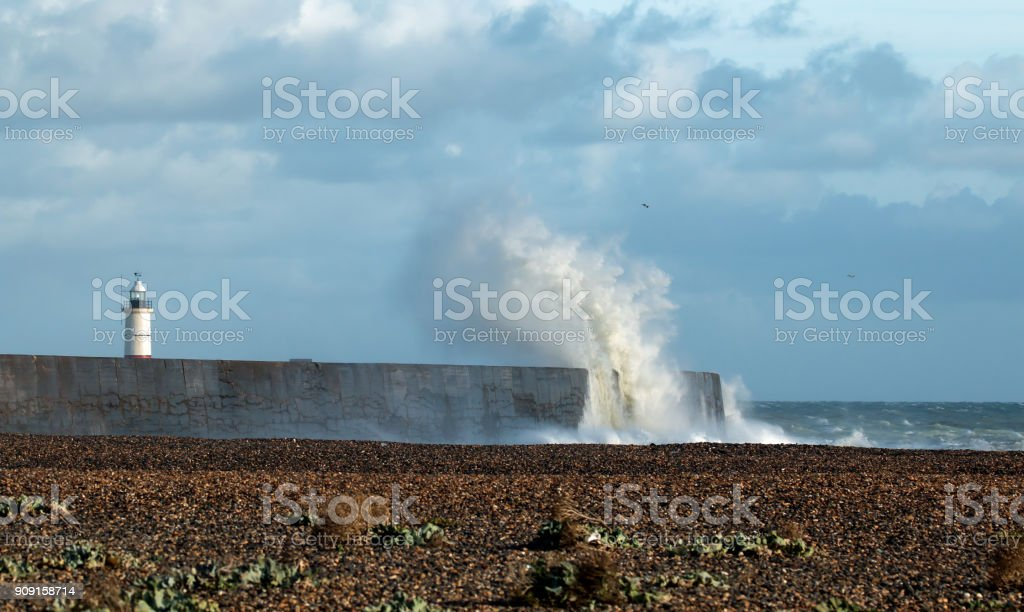 Lighthouse and Waves stock photo