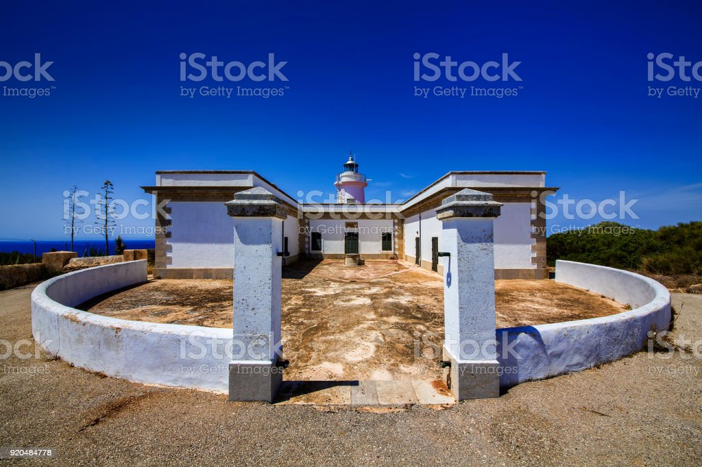 Lighthouse at Cap Blanc, Mallorca stock photo