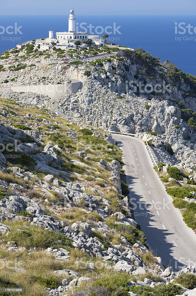 Lighthouse at Cape Formentor in the Coast of North Mallorca stock photo