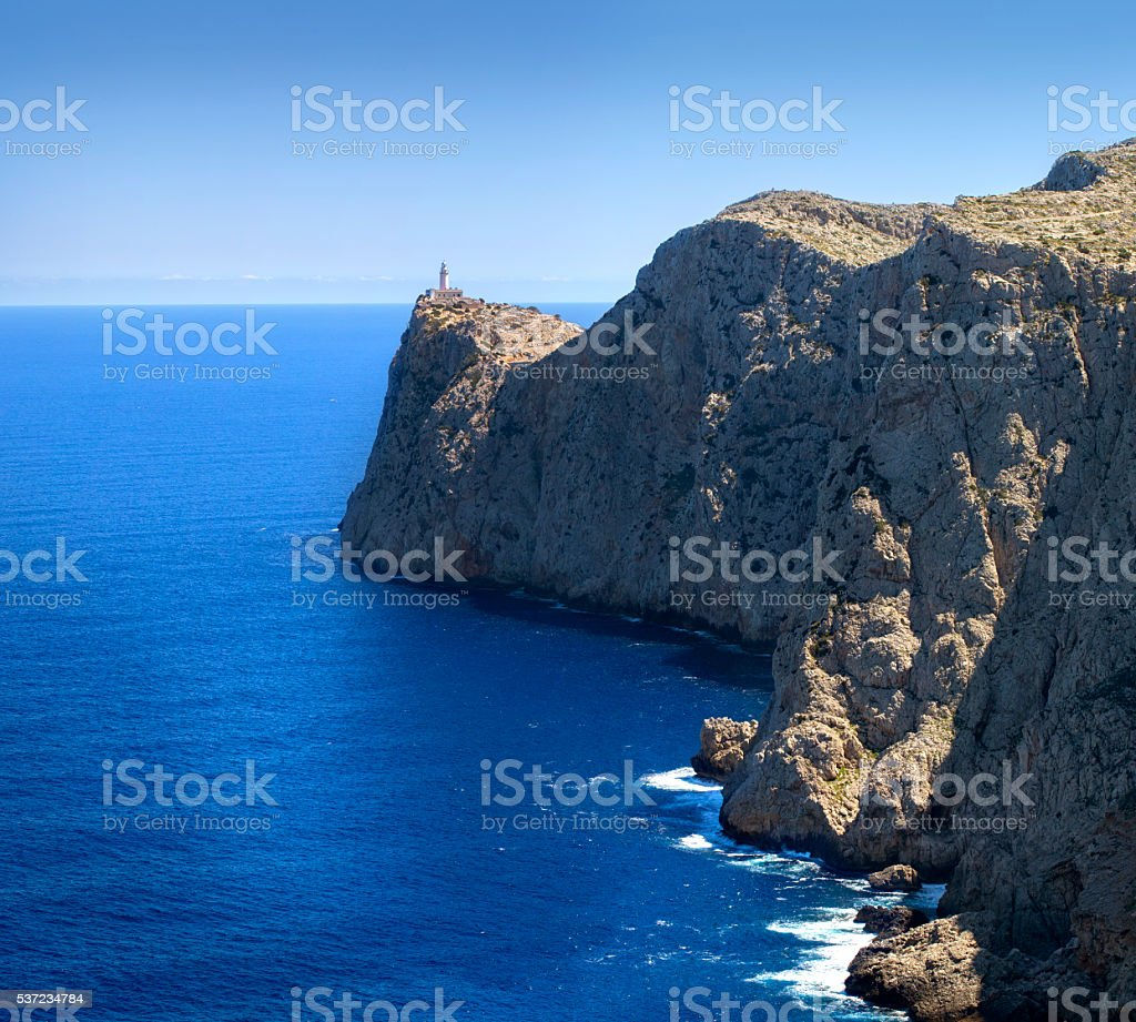 Lighthouse at Cape Formentor stock photo