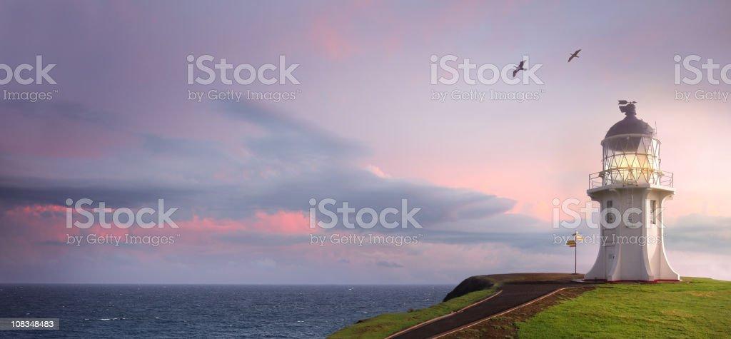 Lighthouse at Cape Reinga stock photo