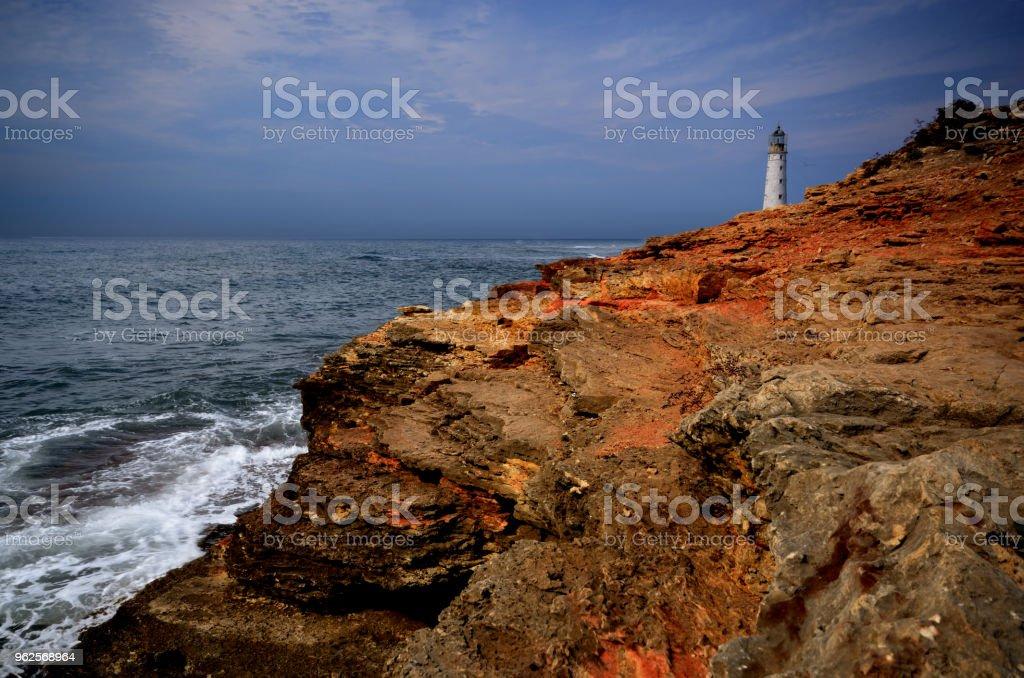 Lighthouse at cape Tarkhankut in Crimea Ukraine stock photo