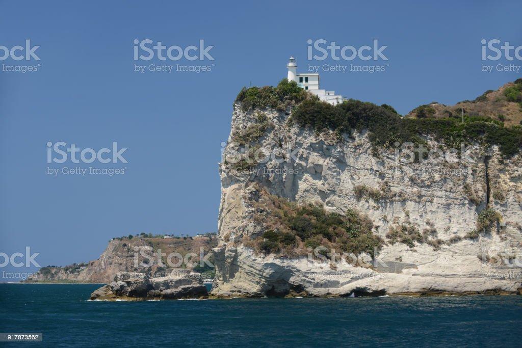 Lighthouse at Capo Miseno, Gulf of Naples, Italy. stock photo
