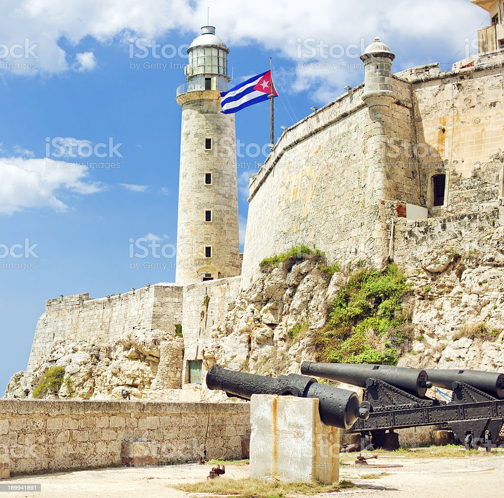 Lighthouse at Castillo del Morro, Havana, Cuba stock photo
