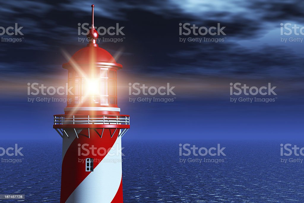 Lighthouse at dark night in ocean stock photo