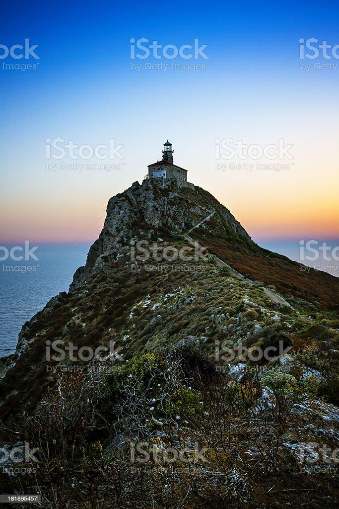 Lighthouse at dusk royalty-free stock photo