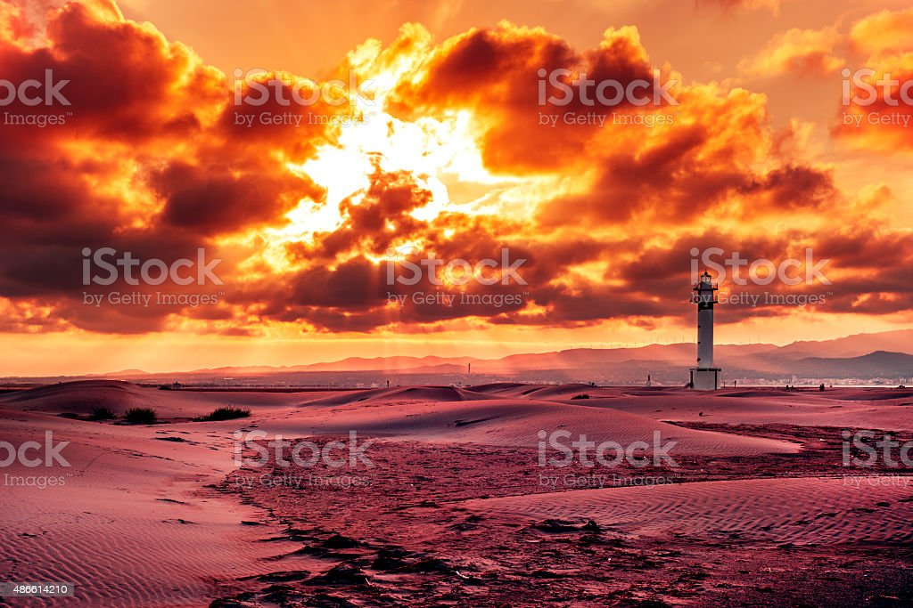 lighthouse at El Fangar, in the Ebro Delta, in Spain stock photo
