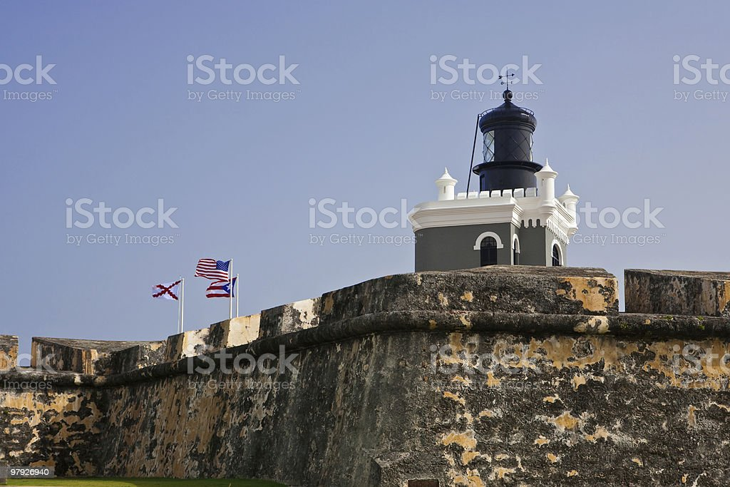 Lighthouse at Fort Morro in Old San Juan, Puerto Rico royalty-free stock photo