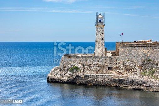 Lighthouse at harbor in Cuba Old Havana
