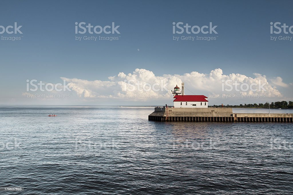 Lighthouse at Lake Superior - Duluth, MN stock photo