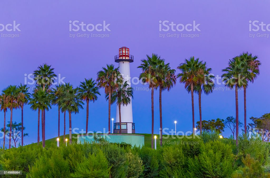 Lighthouse at Long Beach Harbor at dusk with clouds,CA(P) stock photo