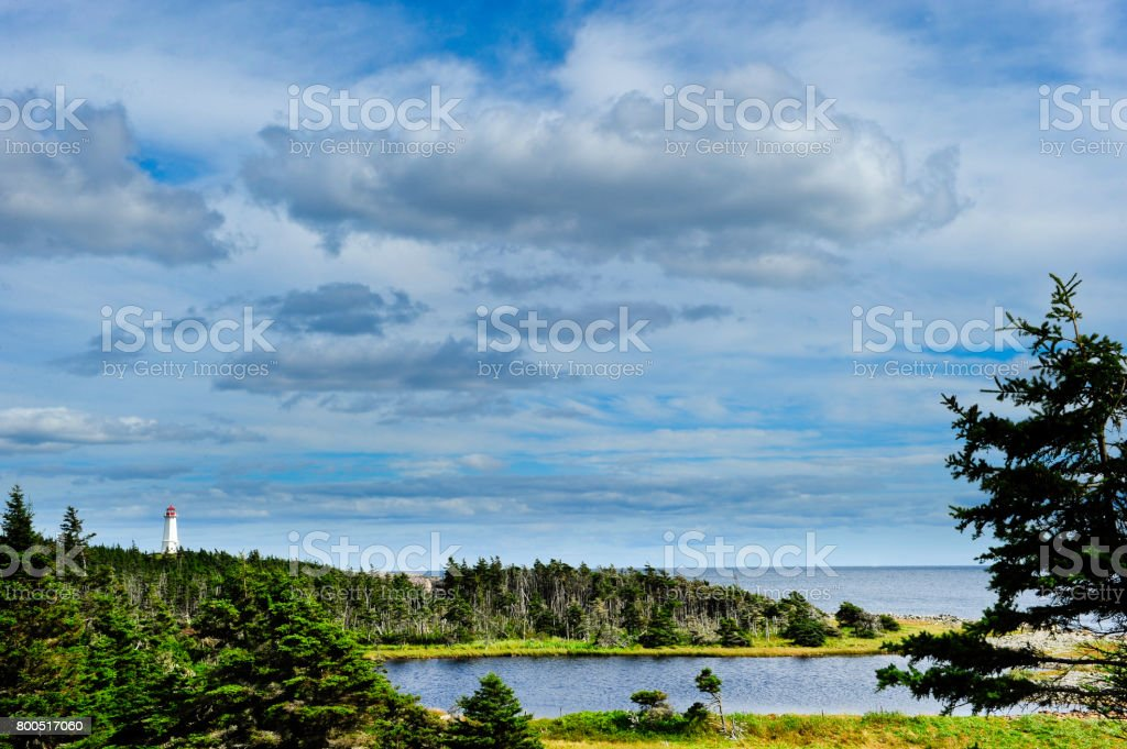 Lighthouse at Louisbourg, Canada stock photo