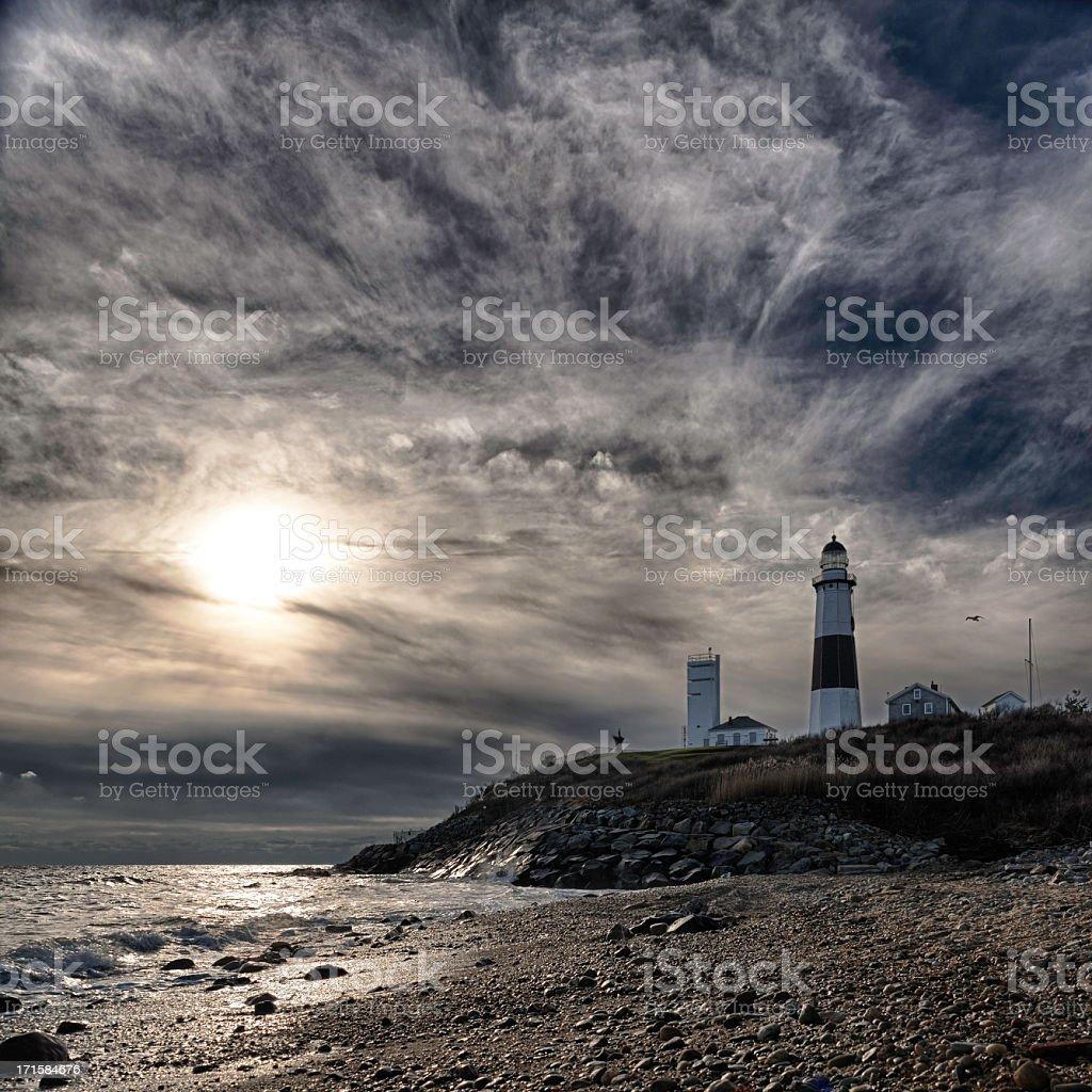 Lighthouse at Montauk point, Long Islans. stock photo