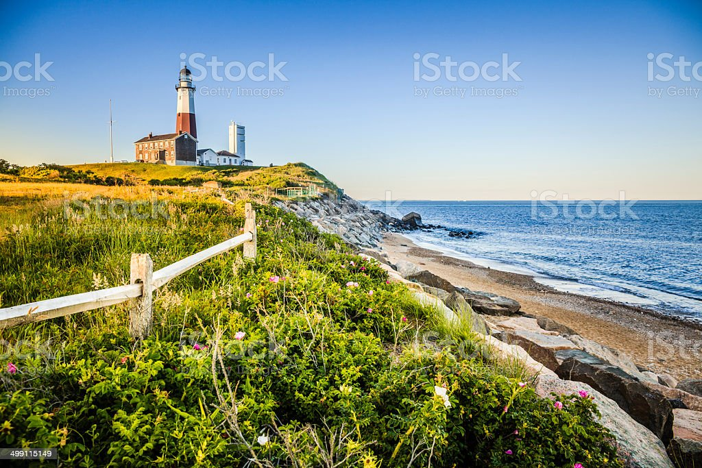 Lighthouse at Montauk point, Long Islans stock photo