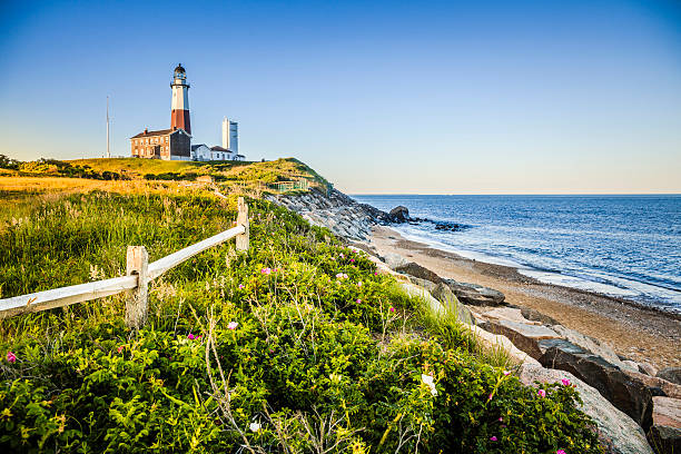 Lighthouse at Montauk point, Long Islans Lighthouse at Montauk point, Long Islans. montauk stock pictures, royalty-free photos & images
