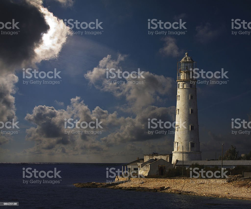 lighthouse at night royalty-free stock photo