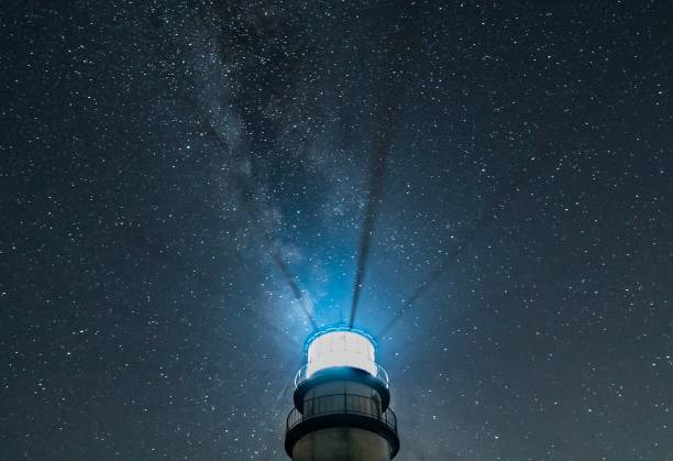 Lighthouse at night with radiating beams and starry sky with Milky Way Top part of New England lighthouse isolated against dark, starry sky, with light beams radiating upward beacon stock pictures, royalty-free photos & images
