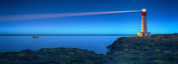 Lighthouse at night with spotlight beam . This is a 3d render illustration. stock photo