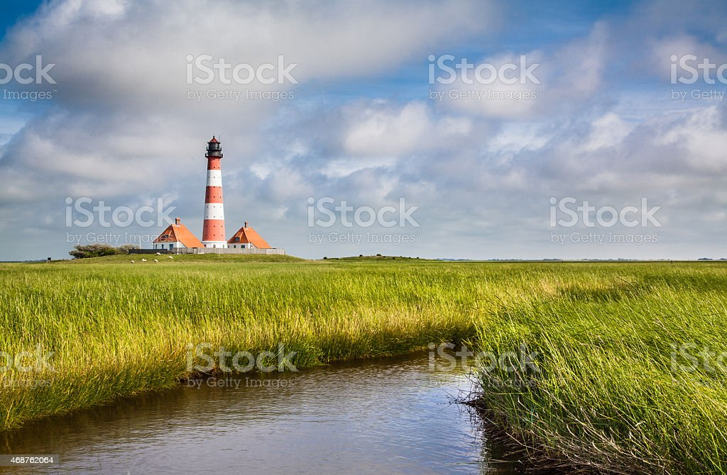Lighthouse at North Sea stock photo