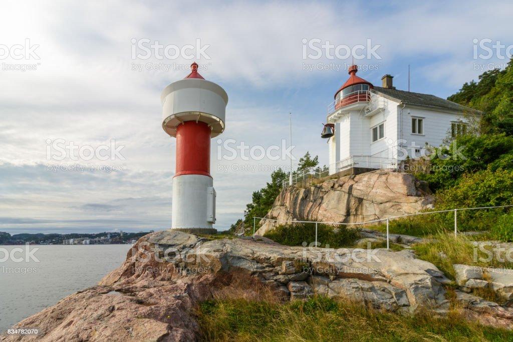 Lighthouse at Odderoya in Kristiansand, Norway stock photo