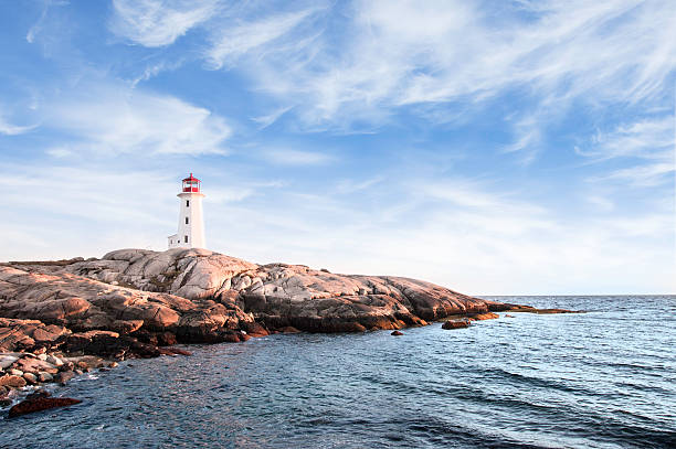 Lighthouse at Peggy's Cove Nova Scotia stock photo