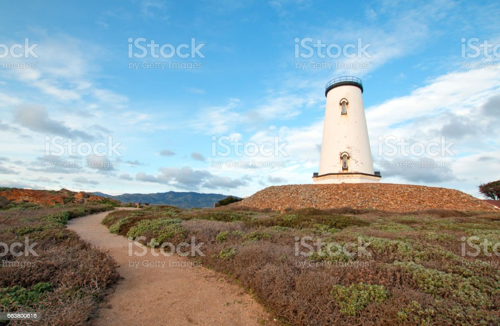 Lighthouse at Piedras Blancas point on the Central Coast of California USA stock photo