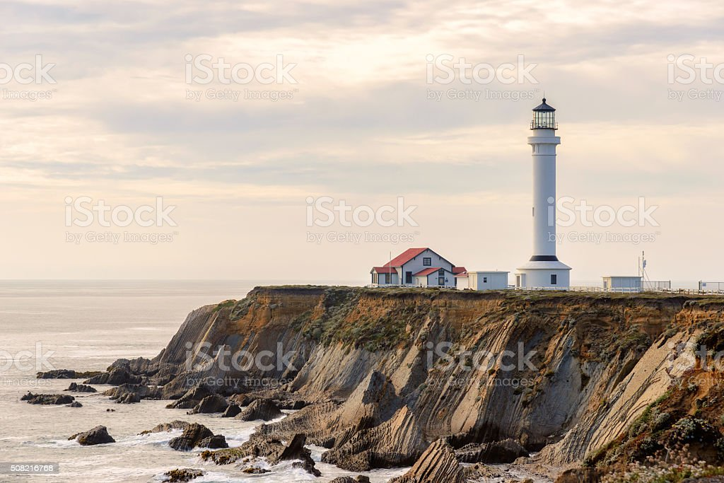 Lighthouse at Point Arena, California stock photo