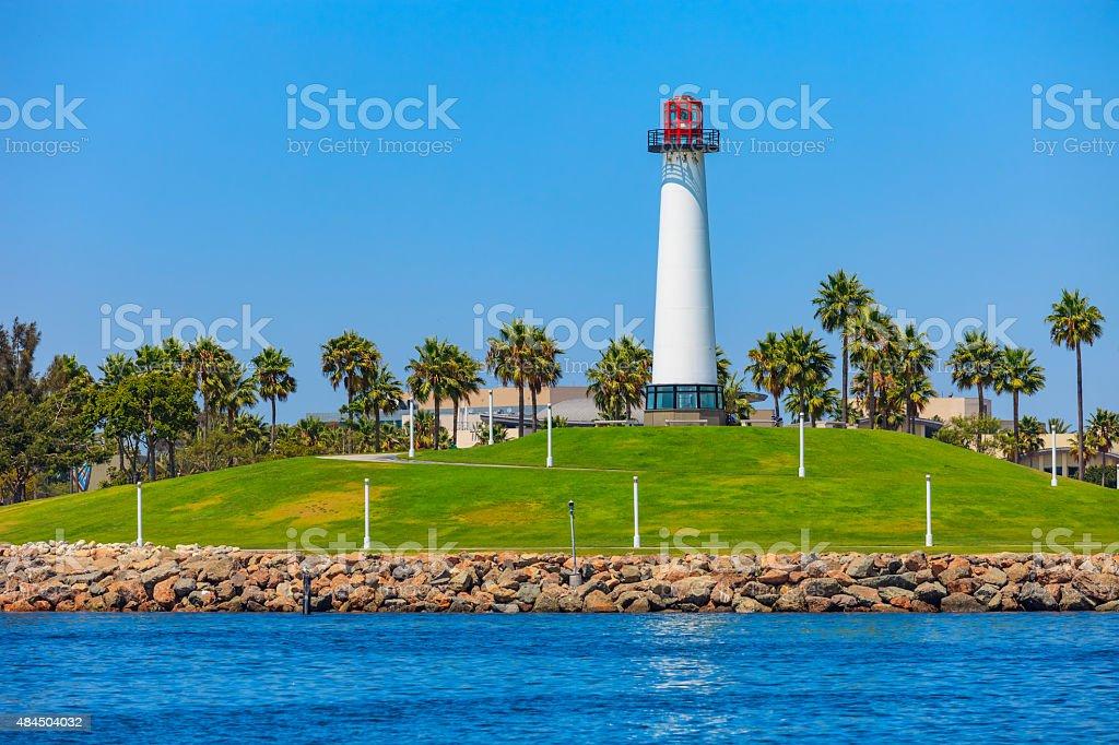 Lighthouse at Shoreline Park Long Beach, CA stock photo