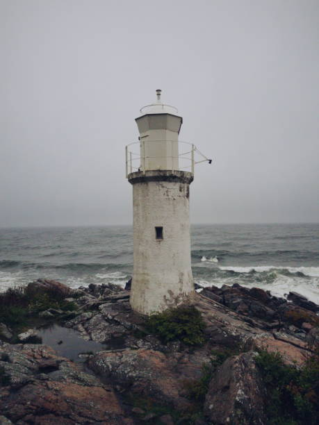 Fyren vid Stens huvud en stormig dag bildbanksfoto