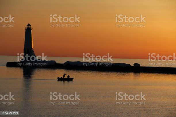 Lighthouse at Sunset in Michigan