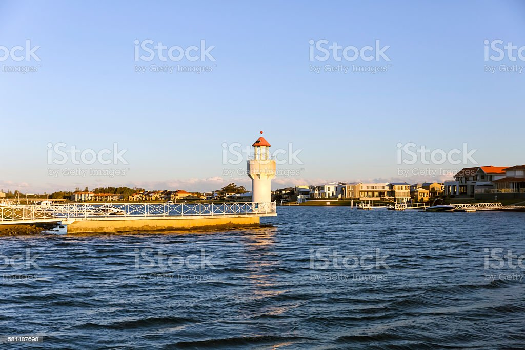 Lighthouse at sunset in Port Macquarie, Australia, copy space stock photo