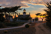 Point Pinos Historic Lighthouse at sunset in Monterey California