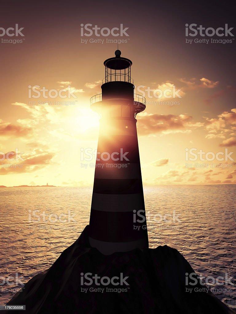 Lighthouse at sunset royalty-free stock photo