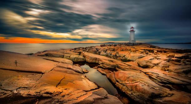 Leuchtturm bei Sonnenuntergang  – Foto
