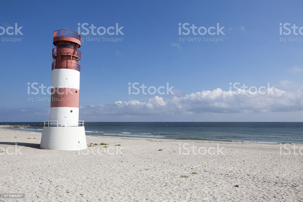 Lighthouse at the beach of Helgoland-Dune Island (Germany) stock photo