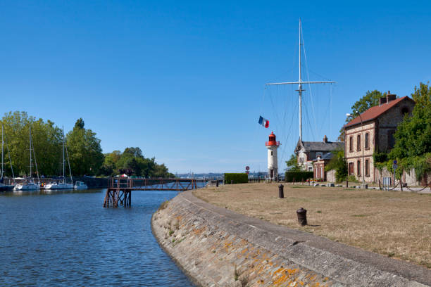 Lighthouse at the East Pier in Honfleur stock photo