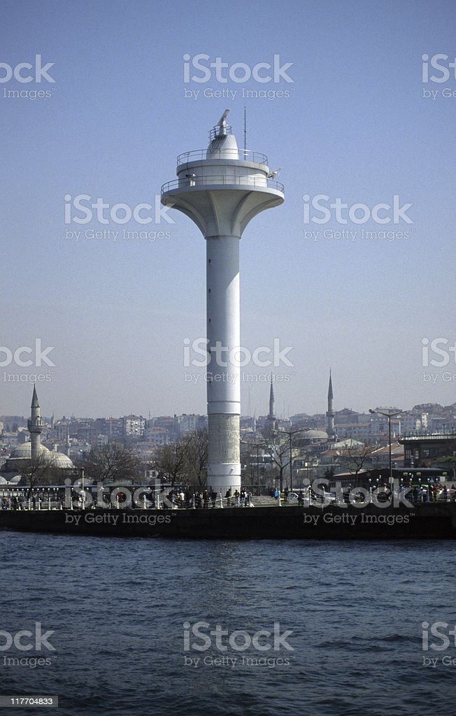 Lighthouse at the waterfront, Üsküdar, Istanbul, Turkey royalty-free stock photo