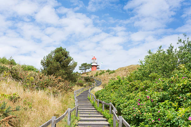Lighthouse at Vlieland Island Netherlands stock photo