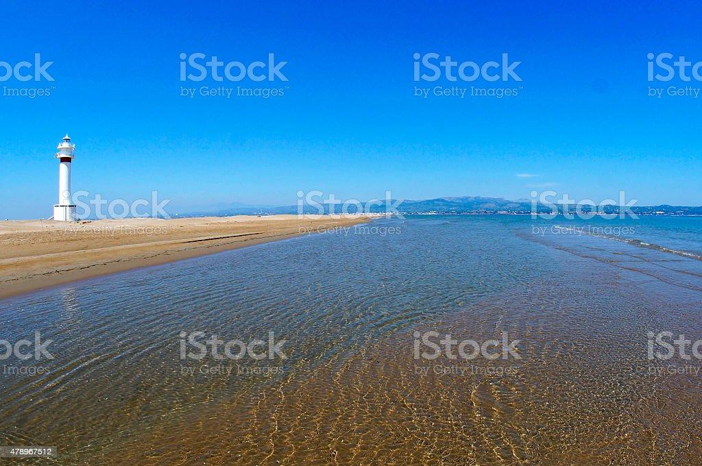 Lighthouse beach Fangar in Ebro Delta stock photo
