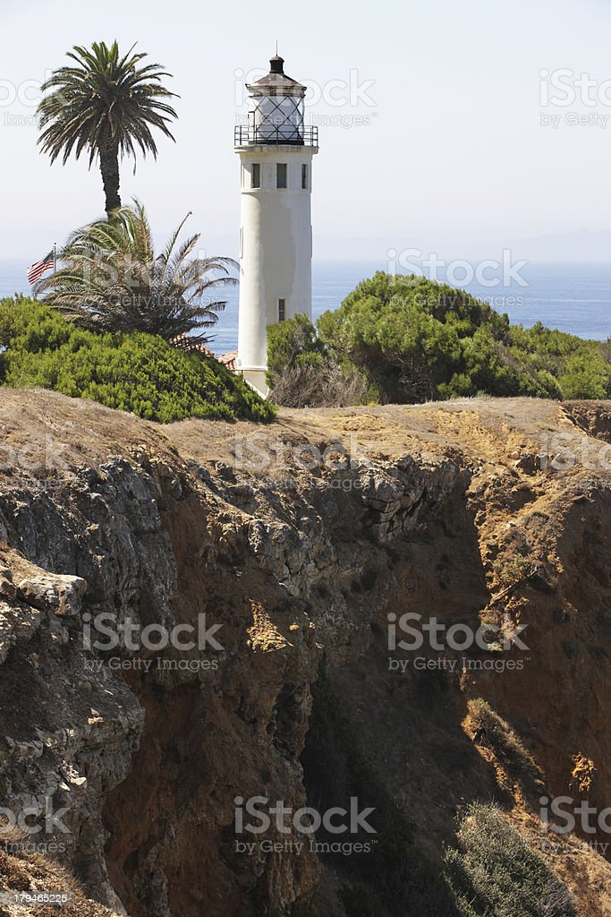 Lighthouse Beacon Point Vicente California royalty-free stock photo